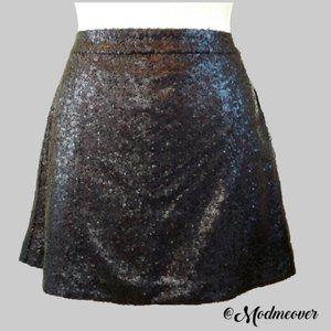 NEW Crown & Ivy Black Sequin A-line Skirt